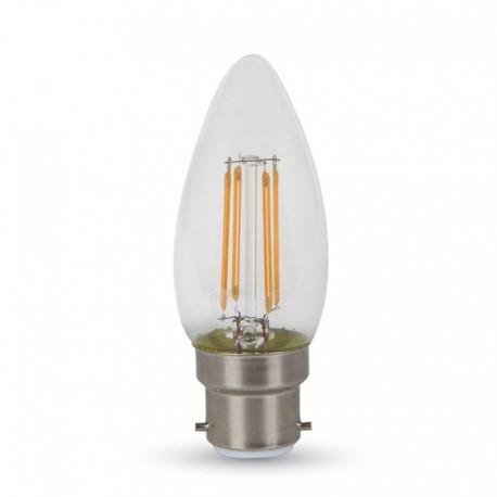 V-Tac 4W LED kerte pære - Kultråd, varm hvid, B22