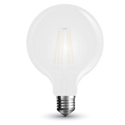 Image of   V-Tac 7W LED globepære - Kultråd, Ø12,5 cm, matteret glas, E27 - Kulør : Varm, Dæmpbar : Ikke dæmpbar