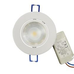 LED downlights V-Tac 5W LED indbygningsspot - Hul: Ø7,2 cm, Mål: Ø8,8 cm, 230V