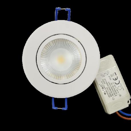 V-Tac 5W LED indbygningsspot - Hul: Ø7,2 cm, Mål: Ø8,8 cm, 230V