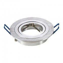 Indbygningsspot Downlight kit uden lyskilde - Hul: Ø7,5 cm, Mål: Ø9,1 cm, børstet aluminium, vælg fatning
