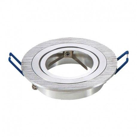 Downlight kit uden lyskilde - Hul: Ø7,5 cm, Mål: Ø9,1 cm, børstet aluminium, fatning til GU10 eller MR16