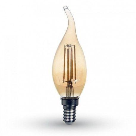 V-Tac 4W LED flamme pære i røget glas - Kultråd, ekstra varm hvid, E14