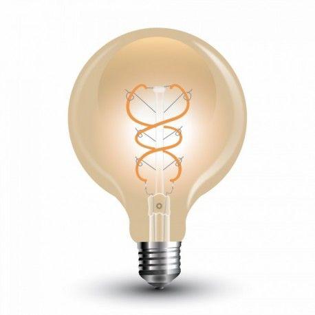 V-Tac 5W LED globepære - Kultråd, Ø9,5 cm, ekstra varm hvid, E27