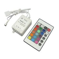 24V RGB RGB kontroller med fjernbetjening - 12V, infrarød, 60W