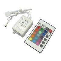RGB kontroller med fjernbetjening - 12v, infrarød, 60w