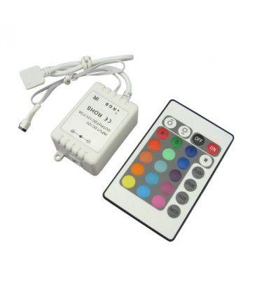 RGB kontroller med fjernbetjening - 12V (72W), 24V (144W), infrarød