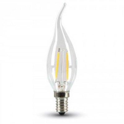 Image of   2W LED flammepære - Kultråd, varm hvid, E14 - Kulør : Varm, Dæmpbar : Ikke dæmpbar