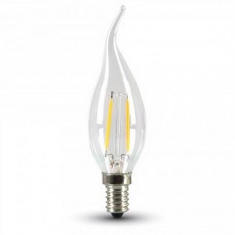 2W LED flamme pære - Kultråd, varm hvid, E14