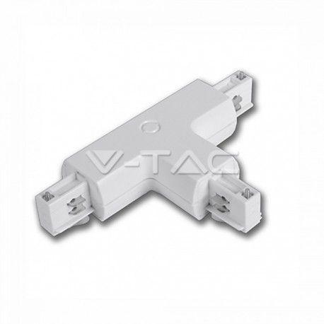 V-Tac samleled til skinner - Hvid, T-stykke
