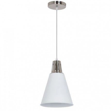 V-Tac moderne pendellampe - Krom + hvid sandblæst, Ø22 cm, E27