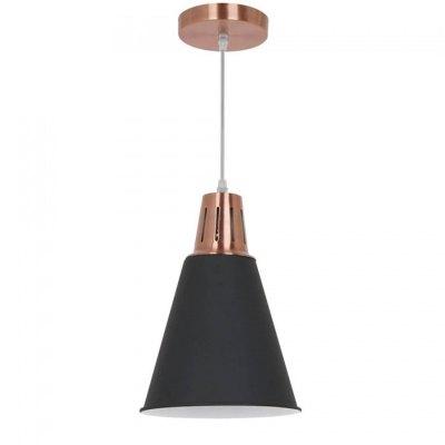 Image of   V-Tac moderne pendel lampe - Kobber + sort sandblæst, Ø22cm, E27