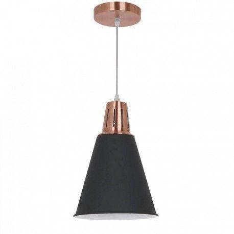 V-Tac moderne pendellampe - Kobber + sort sandblæst, Ø22 cm, E27
