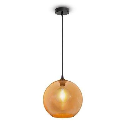 Image of   V-Tac kugleformet glas pendel lampe - Rav farvet, Ø30cm, E27