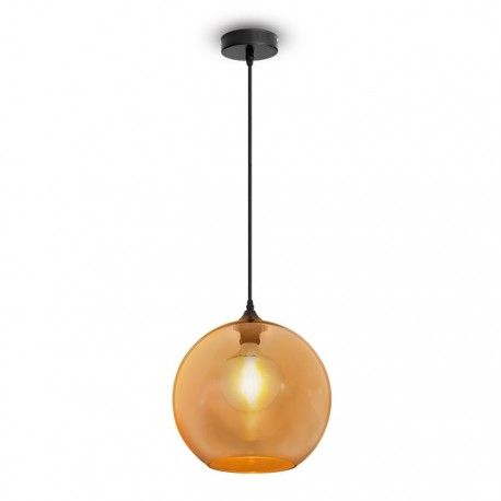 V-Tac kugleformet glas pendel lampe - rav farvet, Ø30cm, E27