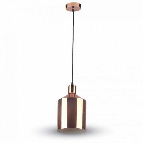 V-Tac kobber pendel lampe - Rosa/guld, Ø17cm, E27