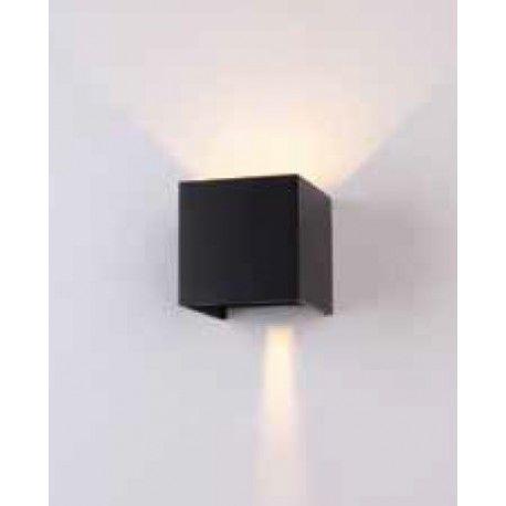 V-Tac 6w sort væglampe - firkantet, justerbar spredning