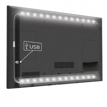 USB TV-stemningslys LED hvid - 2 lister, 50 cm pr. liste