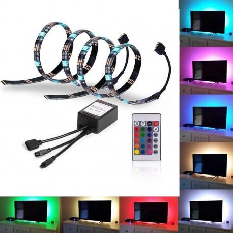 USB TV-stemningslys i LED med skiftende farver - 2 lister, 50 cm pr. liste, RGB