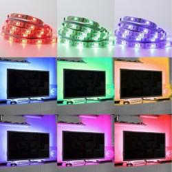tv.strip.4.rgb: USB TV-stemningslys i LED med skiftende farver - 4 lister, 50 cm pr. liste, RGB