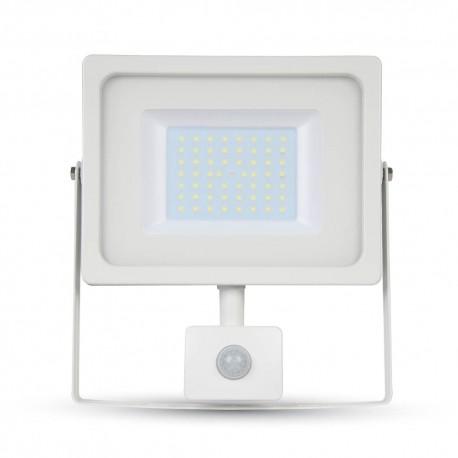 20W Projektør med sensor - Ny model, Tynd, SMD, 1600lm, Kold hvid