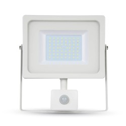 VT-4955.PIR: V-Tac LED projektør med sensor 50W - Ny model, tynd, SMD