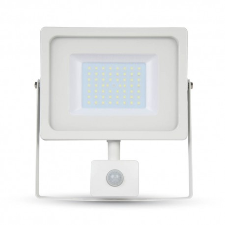 50W Projektør med sensor - Ny model, Tynd, SMD, 1600lm, varm hvid