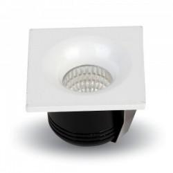 VT-1123SQ: V-Tac 3W LED indbygningsspot - Hul: Ø3,5 cm, Mål: 4,5x4,5 cm, 230V