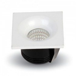 V-Tac 3W LED indbygningsspot - Hul: Ø3,5 cm, Mål: 4,5x4,5 cm, 230V