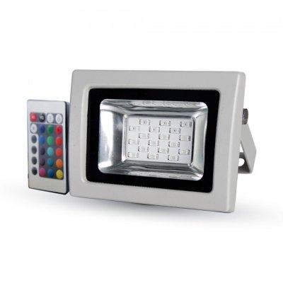 Image of   V-Tac 10W LED projektør RGB - Med infrarød fjernbetjening, udendørs - Dæmpbar : Ikke dæmpbar, Kulør : RGB