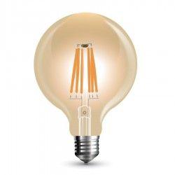 E27 Stor fatning V-Tac 8W LED globepære - Kultråd, Ø9,5 cm, dæmpbar, ekstra varm hvid, E27