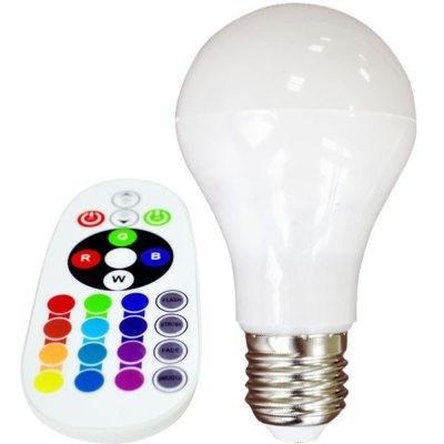 Image of   V-Tac 6W RGB LED pære - Med RF fjernbetjening, E27 - Dæmpbar : Dæmpbar, Kulør : RGB
