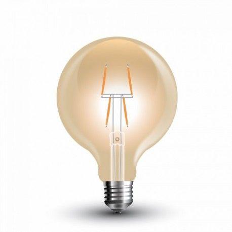 V-Tac 4W LED globepære - Kultråd, Ø8 cm, ekstra varm hvid, E27