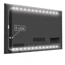 USB TV-stemningslys LED kold hvid - 2 lister, 50 cm pr. liste