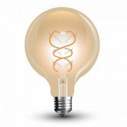 E27 Stor fatning V-Tac 5W LED globepære - Kultråd, Ø12,5cm, ekstra varm hvid, E27