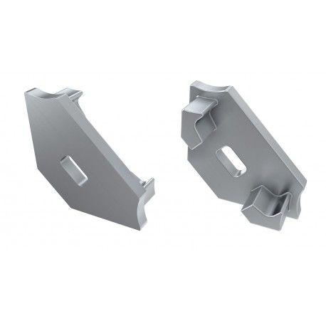Endestykker til aluprofil Type C - 2 stk, grå