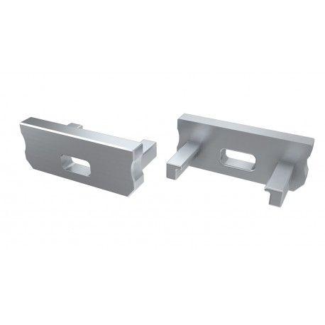 Endestykker til aluprofil Type D - 2 stk, grå