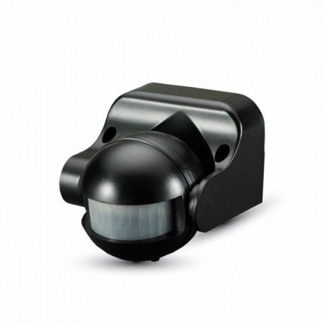V-Tac bevægelsessensor - LED venlig, sort, PIR infrarød, IP44 udendørs