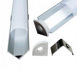 V-Tac alu hjørneprofil til LED strip - 1 meter, materet cover
