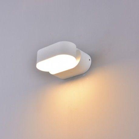 V-Tac 6W hvid væglampe - Oval, roterbar 350 grader, IP65, 230V