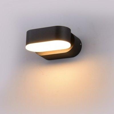 Image of   V-Tac 6W LED sort væglampe - Oval, roterbar 350 grader, IP65 udendørs, 230V, inkl. lyskilde - Kulør : Varm, Dæmpbar : Ikke dæmpbar