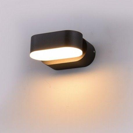 V-Tac 6W LED sort væglampe - Oval, roterbar 350 grader, IP65 udendørs, 230V, inkl. lyskilde