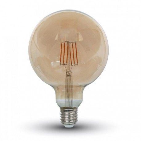 V-Tac 6W LED globepære - Kultråd, Ø12,5 cm, ekstra varm hvid, 2200K, E27