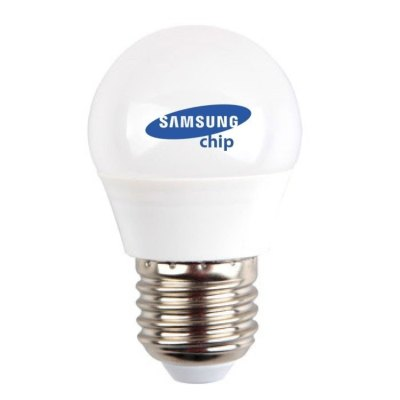 Image of   V-Tac 4,5W LED kronepære - Samsung LED chip, G45, E27 - Kulør : Varm, Dæmpbar : Ikke dæmpbar
