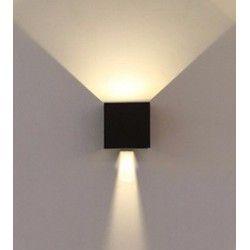 V-Tac 6W sort væglampe - Firkantet, justerbar spredning, IP65, 230V