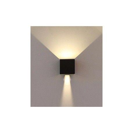 V-Tac 6W LED sort væglampe - Firkantet, justerbar spredning, IP65 udendørs, 230V, inkl. lyskilde