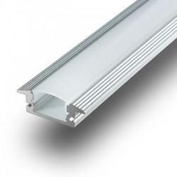 V-Tac nedsænket aluprofil til LED strip - 1 meter, materet cover