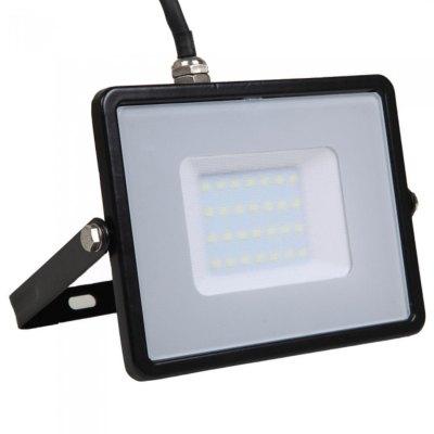 Image of   V-Tac 30W LED projektør - Samsung LED chip, arbejdslampe, udendørs - Kulør : Kold, Dæmpbar : Ikke dæmpbar, Farve på hus : Sort