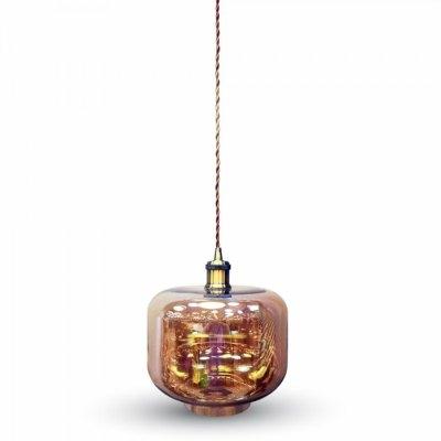 Image of   V-Tac Glas pendel lampe - Brunt glas, rund, E27