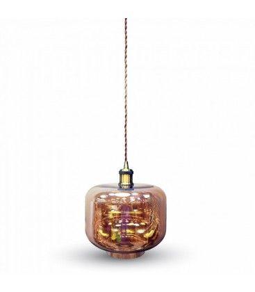 V-Tac pendellampe - Brunt glas, rund, E27